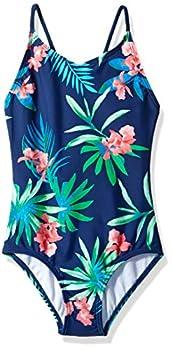 Kanu Surf Girls  Big Daisy Beach Sport 1-Piece Swimsuit Leonie Floral Navy 12