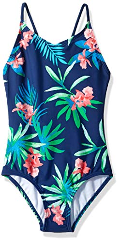 Kanu Surf Big Girls' Chloe Beach Sport 1-Piece Swimsuit, Leonie Floral Navy, 12