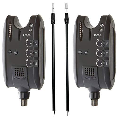 2x Cormoran - Pro Carp X-8000 elektrischer High-Tech Bissanzeiger mit Tele Erdspeer