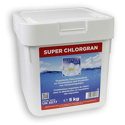 Seerose Super Chlor Granulat 5 kg organisch Desinfektion Erstbefüllung Algenbefall Stoßchlorung Schnellchlorung Wasserpflege Pool Schwimmbecken