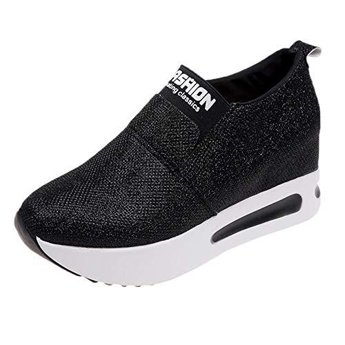 Zapatillas Deportivas Cuñas Mujer Moda Casual Flock Slip-On Plataforma Zapatos de Mujer Zapatillas...