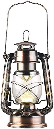 Lunartec LED Sturmlaterne: Ultra helle LED-Sturmlampe, Batterie, 200lm, 3W, warmweiß, Bronze (LED Petroleumlampe)