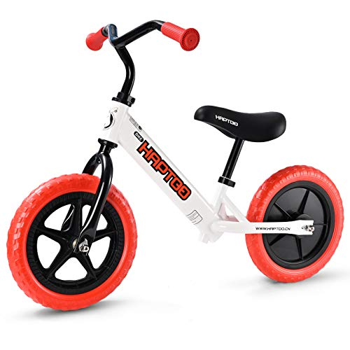 "HAPTOO 12"" Balance Bike, Walking Bicycle with No Pedal Toddlers Balance Bike for 2 3 4 5 Year Old Boys Girls"