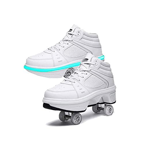 Patines de Ruedas para Mujeres, Patines en línea LED 2 en 1 para niños, Zapatos con Ruedas, Zapatos de skate, 7 luces de Colores Ajustables, Patines de cuatro Ruedas ( Color : White , Size : 36EU )