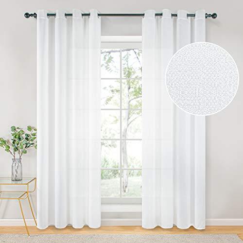 Topfinel Voile Vorhänge mit Ösen Halbtransparent Gardine Leinenstruktur Garn Muster Fensterschal für Zimmer, Büro, 2er Set 260x140 (HxB) Weiß