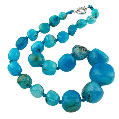 TreasureBay - Splendida collana da donna con pietre di agata e nessuno, colore: Blu, cod. TBGEM01