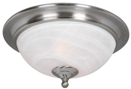 Hardware House 543942 Saturn Flush Mount Ceiling Fixture, Medium, White, Satin Nickel Alabaster Glass Bowl Light Fixture