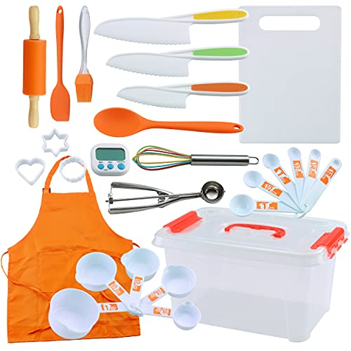Kids Cooking and Baking Supplies Gift Set with Storage Container, Complete junior chef cooking sets, Girls & Boys Childrens Real Bakeware Equipment, Real Cooking and Baking Utensils for Kids by PERLLI