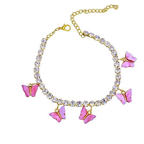 Janly Clearance Sale Tobillera para mujer, diseño de mariposa, acrílico, con diamantes de imitación, para el día de San Valentín, cumpleaños, regalo para mujeres y niñas (A)