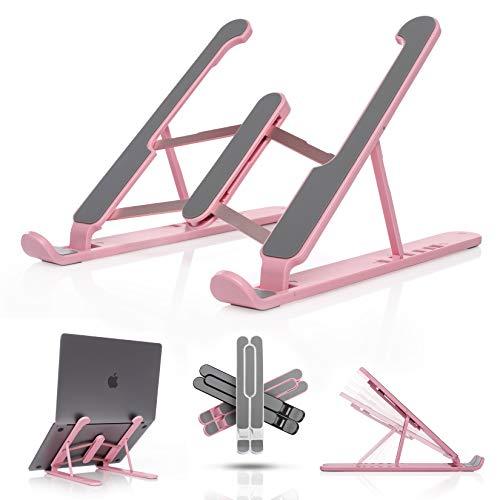 offNice Laptop Ständer [Pink] | Notebook Ständer kompatibel bis 15.6 Zoll Laptops | 6 Stufen Höhenverstellbar | Ergonomische Erhöhung | Kompatibel mit MacBook Air & MacBook Pro