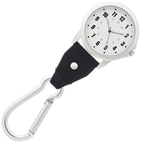 [フィールドワーク] 懐中時計 アナログ マルコ 夜光文字盤 カラビナ 付き DT134-4 ブラック