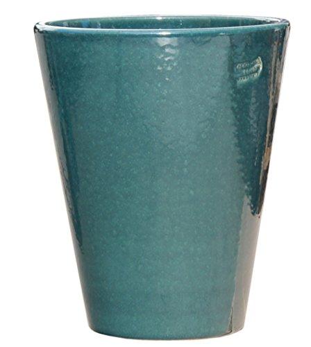 Hentschke Keramik Pflanztopf/Pflanzkübel frostsicher Ø 25 x 30 cm, Effekt grün, 008.030.66 Blumenkübel für Draußen + Innen - Made in Germany