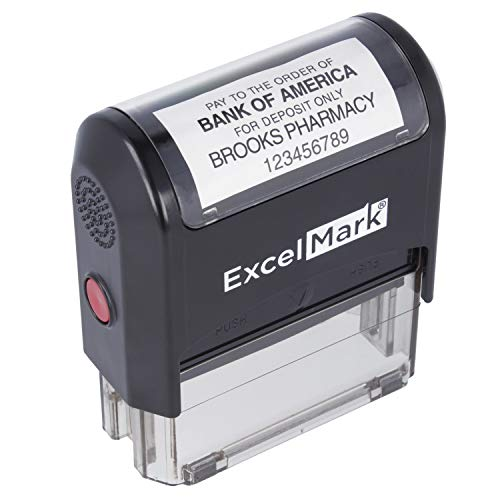 ExcelMark A-2359 5-Line Bank Deposit Check Endorsement Self-Inking Rubber Stamp
