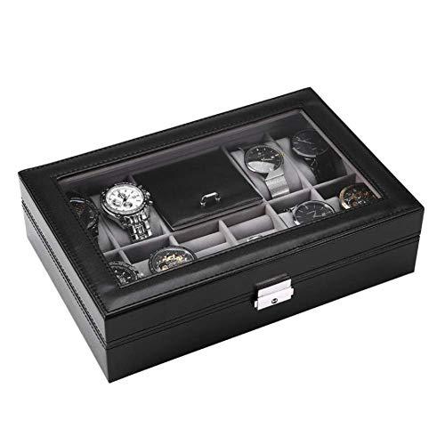 JOMOSIN SNH0216 2 Grid Creative Watch Box Creative Jewelry Box Creative Jewelry Box Solid Wood with Padlock Bracelet Bracelet Creative Jewelry Display Storage Box Gift Collection, Z