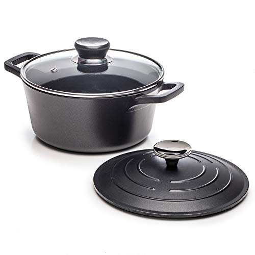 Dawsons Living Cast Aluminium Casserole Dish - Dutch Oven with 2 Lids Suitable for All Hob Types - Oven and Dishwasher Safe - 2.5 Litre