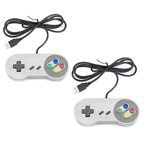 Daily Gadgets SNES USB Controller, 2 Pack USB Wired Retro Classic Game Controller Joypad Game Pad for Windows Laptop PC Mac and Raspberry Pi System