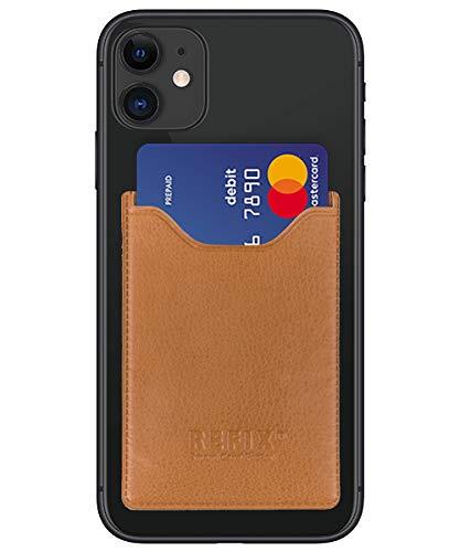 Refix Smartphone kaarthouder - zelfklevende creditcardhouder mobiele telefoon kaartvak kaarthouder - Phone Wallet portemonnee voor creditcards en contant geld - Compatibel met iPhone, Samsung, Huawei, bruin