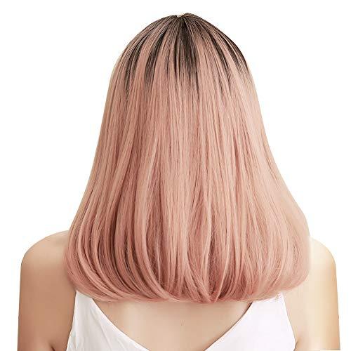 Peluca de pelo de longitud media, pelucas de onda sintética rosa, circunferencia de la cabeza ajustable, lavable y transpirable, pelo falso para cosplay de fiesta para mujeres (LC292‑1)