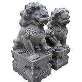JANEFLY Escultura del león de la Buena Suerte, estatuas de los Leones de Beijing Par de Perros Fu Foo Decoración Feng Shui Piedra Azul auspiciosa Tradicional China Alejar la energía maligna