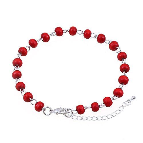 Perline di legno rosso cavigliera