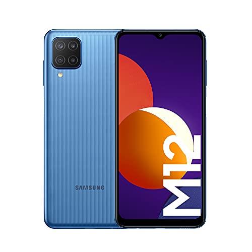 Samsung Galaxy M12 Android Smartphone ohne Vertrag, Quad-Kamera, 6,5 Zoll Infinity-V Display, starker 5.000 mAh Akku, 128 GB/4GB, Handy in Blau, (Deutsche Version) [Exklusiv bei Amazon]