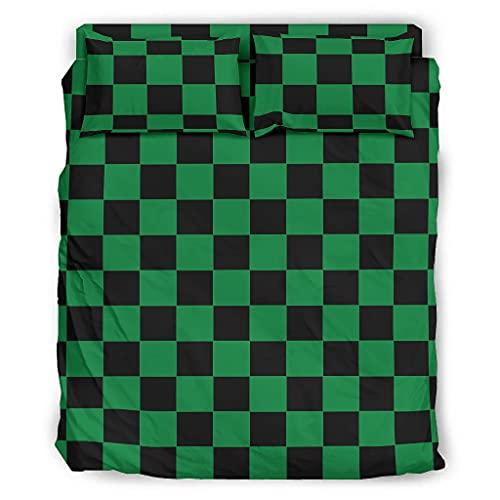 LL·Shawn Juego de 4 juegos de cama de ajedrez, juego de funda de almohada y fundas de edredón, color negro y verde, suave y cómodo, juego de sábanas de 175 x 218 cm