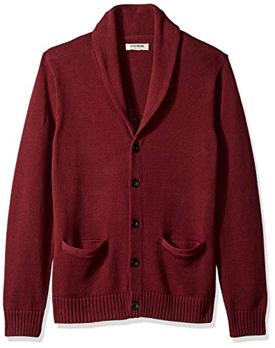 Amazon Brand - Goodthreads Men's Soft Cotton Shawl Cardigan, Solid Burgundy, Large