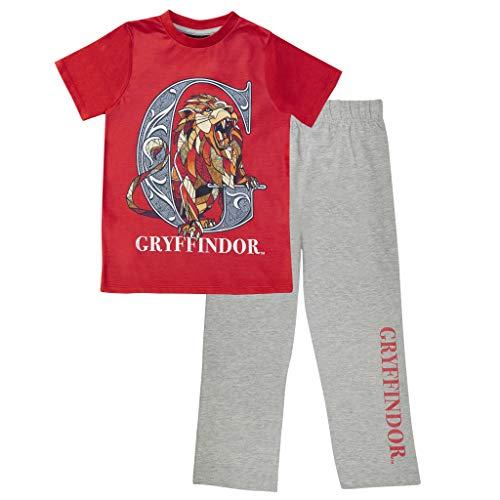Harry Potter Gryffindor Herren Lange Pyjamas Set Rot/Heather Grey S   Geschenk-Idee für Ihn Ehemann Freund Partner, Nachtwäsche
