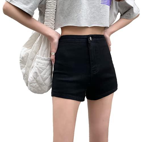 Pantalones Cortos de Mezclilla para Mujer Verano Retro de Cintura Alta Pantalones Cortos de Mezclilla de Cadera estirados Rectos Pantalones Cortos Americana XS