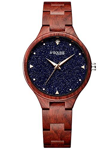 Alienwork Reloj Mujer Rojo Pulsera de Madera Azul Esfera del mármol Verdadero Madera Natural Elegante