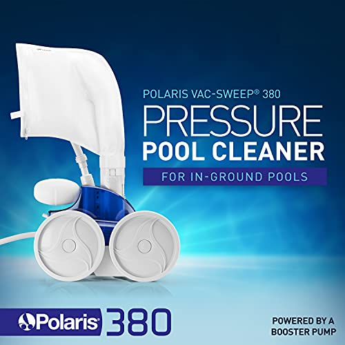 Polaris Vac-Sweep 380 Pressure Inground Pool Cleaner, Triple Jet Powered, 31ft of Hose with a Single Chamber Debris Bag