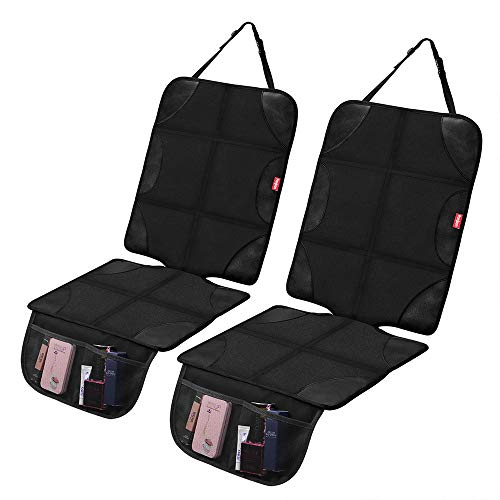 Car Seat Protector, Ponjson Auto Car Leather Seats Waterproof Thick Padding&Non-Slip Seat Cover Pad for Child Baby Safety Seat with Organizer Pockets-2 Pack Carseats for Most Cars