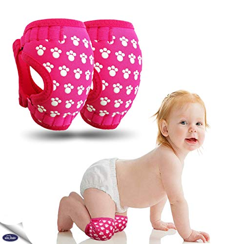 Sevi Baby Professional Knee Pads for Crawling - Ergonomic, Soft and Breathable Anti Slip Knee Protector - Adjustable Knee Warmer for Babies (Pink)