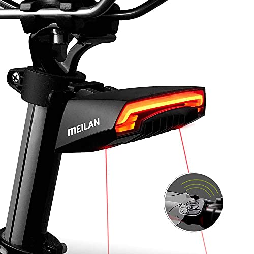 MEILAN X5 Fanale Posteriore per Bici Intelligente con indicatori di direzione e Luce di Stop Automatica Telecomando Senza Fili Avviso di Sicurezza Ricaricabile USB
