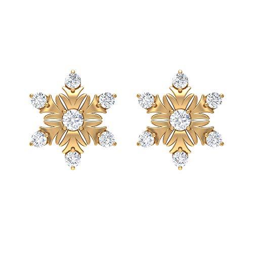 Pendientes de copo de nieve de diamante, aretes modernos para mujer, aretes de uso diario para mujer, con rosca, Metal, Diamond,