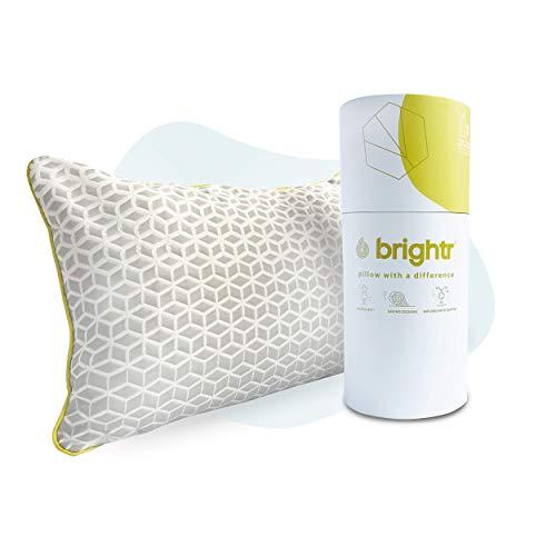 Brightr ® Sleep Luna - Almohada de espuma viscoelástica ajustable de grafeno con funda de almohada hipoalergénica de cobre, diseñada para personas que duermen delante y atrás, suave y cómoda