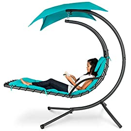 Best Choice Products Outdoor Hanging Curved Steel Chaise Lounge Chair Swing w/Built-in Pillow and Removable Canopy… 9 WEIGHTLESS LOUNGING: features a comfortable chaise seat with a tempered steel cantilever to create a unique, suspended, lounging experience UV-RESISTANT CANOPY: Relax in shaded bliss thanks to a 46-inch removable polyester shade canopy for those extra-sunny afternoons! PLUSH COMFORT: Lie back and enjoy a set of ergonomic, 2-inch foam-filled cushions, a 265-pound weight capacity, and a removable headrest for extra comfort and support