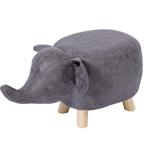 FFC Gestoffeerde voetbank poef en poef voor dieren Gestoffeerde voetbank Slaapkamer modellering Olifanten Speelgoed in PU en schoenenrek - Hoekbank (Kleur: bruin Afmetingen: 70x36x32 cm)