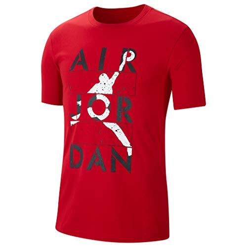 NIKE M J Stencil SS Crew T-Shirt, Gym Red, XS Mens