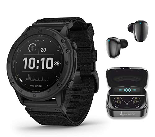 Garmin tactix Delta Solar with Ballistics Solar-Powered Tactical Smartwatch with Wearable4U Ultimate Black Earbuds with Charging Case Bundle