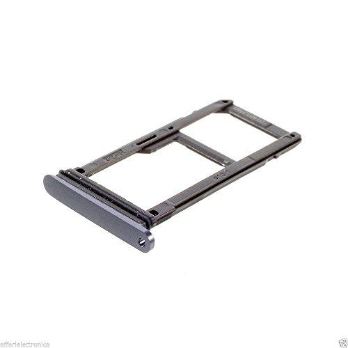 Slot GRIGIO SCURO  slitta PORTA SIM alloggio SCHEDA +VASSOIO SCHEDA MEMORIA COMPATIBILE  per Samsung GALAXY S7 G930 G930F NERO