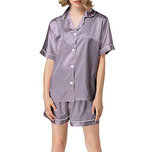NANJUN Women's Satin Pajamas Sleepwear Short Button-Down Pj Set(rosybrown,s)