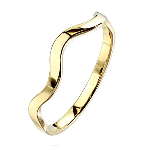 Paula & Fritz® stapelbarer Damen-Ring 3mm Silber Gelb-Gold Rosé-Gold Bunt Gewundene Linie Freundschafts-Ring Partner-Ring Edelstahl 316L R-M6928G_90