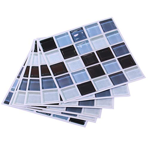 Pegatinas de pared mosaico 6 piezas autoadhesivo azulejo de pared pegatina papel tapiz calcomanías de pared 7,9x7,9 pulgadas(Azul)
