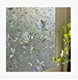 FHC VTH una película de Vinilo Adhesivo a la película, Ventana Pegatinas baño, Puertas y Ventanas de Cristal explosión de privacidad opacos película de plástico PVC,3D Tulip