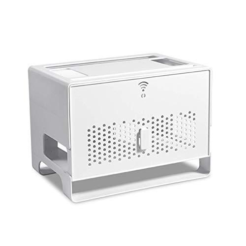 Estante flotante Caja de almacenamiento del enrutador, caja de administración de cables, caja de escondite del organizador de cable, caja de caja de software, escritorio de soporte grande, cable, hub