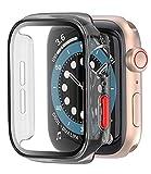 [2-Pack] Coque Noir Clair avec Protection Ecran Verre Trempe pour Apple Watch Series 6 / Se/Serie...
