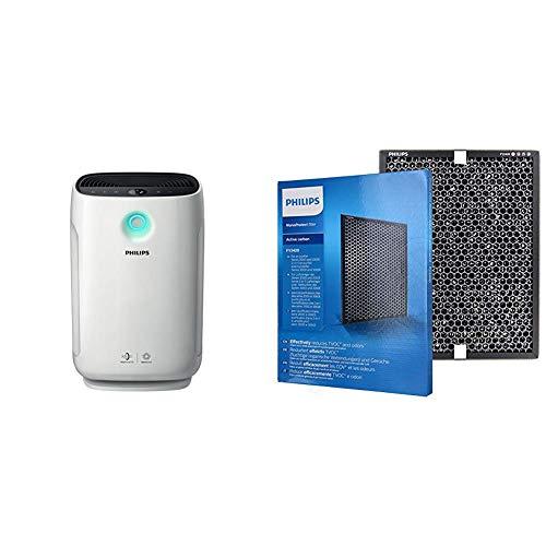 Philips AC2889/10 Luftreiniger Connected (für Allergiker und Raucher, 79m², CADR 333m³/h, AeraSense Sensor) weiß & Aktivkohlefilter (für Philips Luftreiniger AC2889, AC2887, AC2882, AC3829/10)