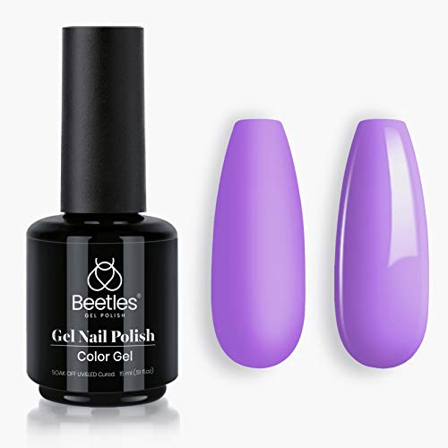 Beetles Gel Nail Polish, 1Pcs 15ML Viola Violet Purple Color Soak Off Gel Polish Nail Art Manicure Salon DIY at Home