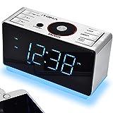 iTOMA Radiowecker mit kabellosen Bluetooth, Digital-FM-Radio, Dual-Alarm mit Schlummerfunktion, 4-Stufen-Dimmer, Handy-USB-Ladefunktion, Nachtlicht, Backup Batterie (CKS708BT)